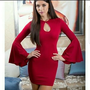 FABULOUS Bodycon Bell Sleeve Dress